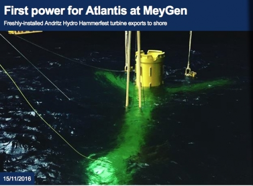 Atlantis achieves first power from MeyGen tidal energy project