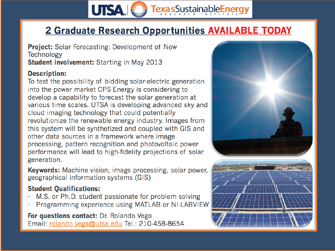 UTSA Summer Internship at the Institute
